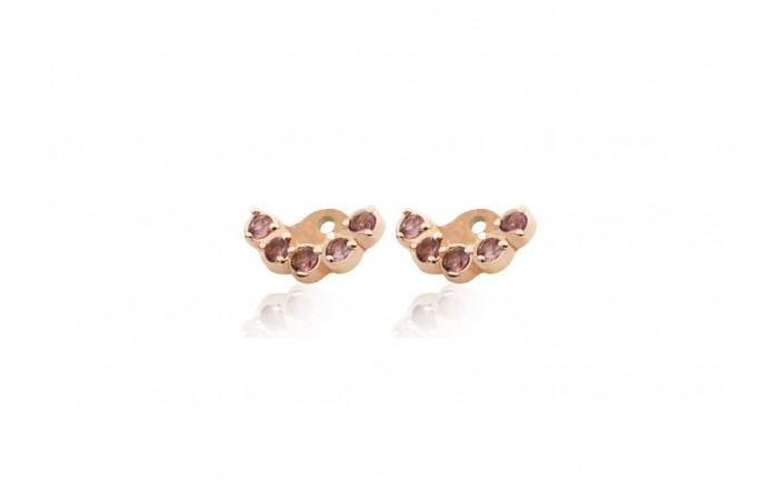 Nakładki do kolczyków Pink Tourmaline Crowns