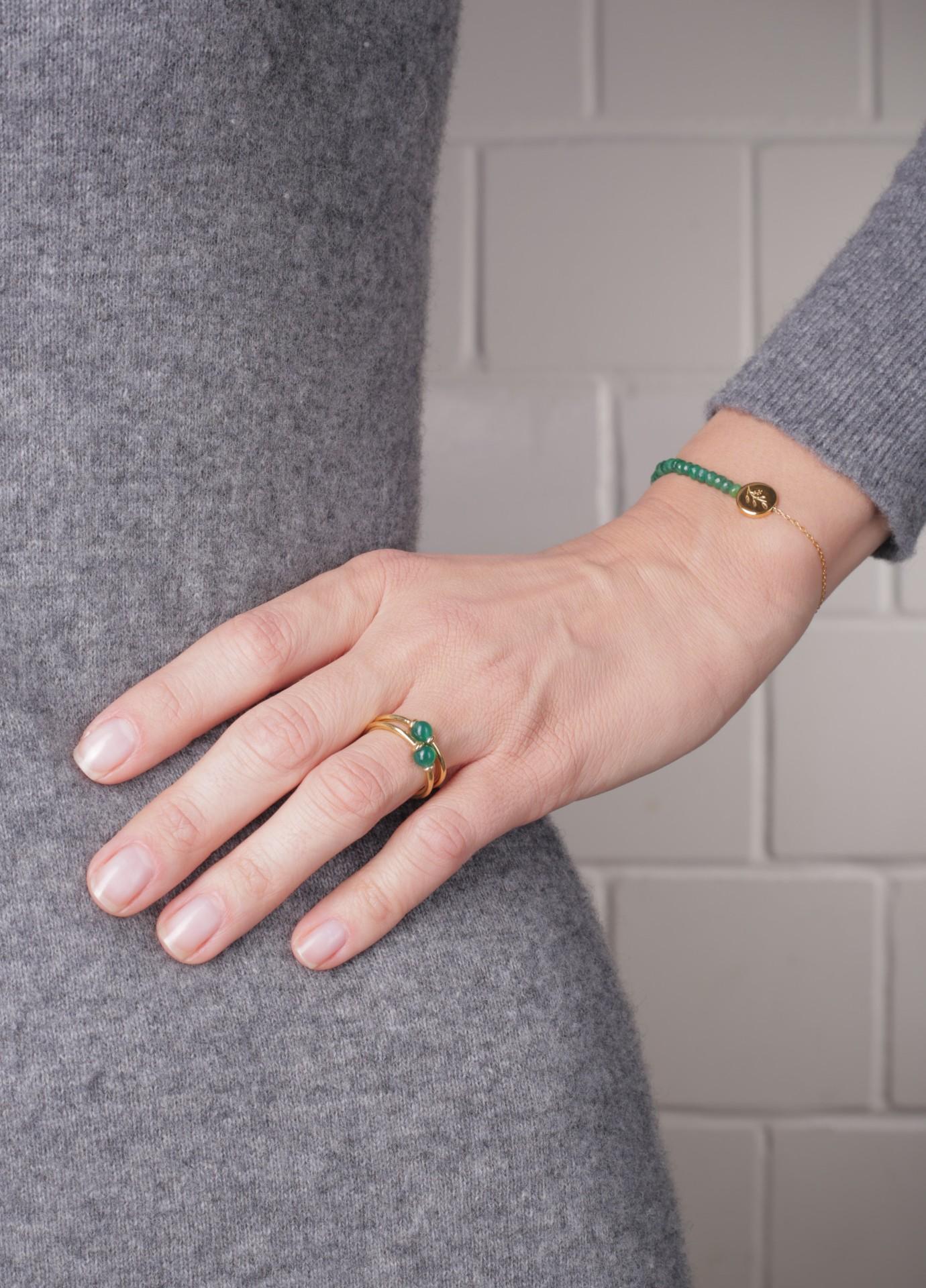 Pierścionek Green Agate Pea